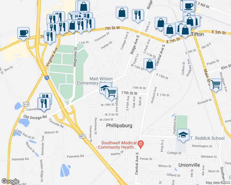 map of restaurants, bars, coffee shops, grocery stores, and more near 1706 Ridge Avenue South in Tifton