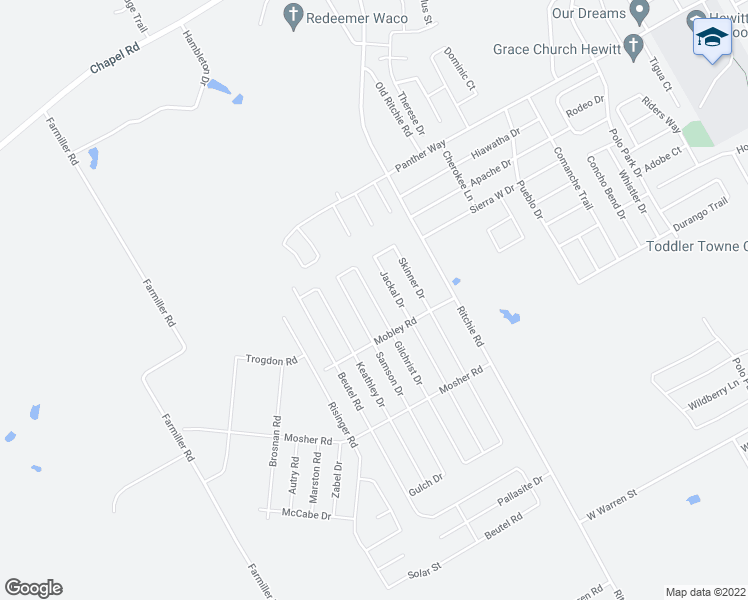 map of restaurants, bars, coffee shops, grocery stores, and more near Gilchrist Drive in Lorena