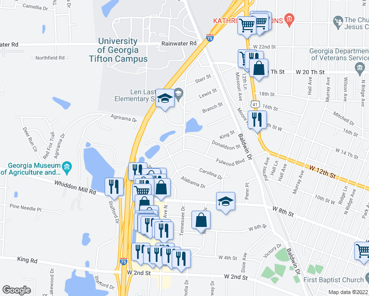 map of restaurants, bars, coffee shops, grocery stores, and more near 214 Fulwood Boulevard in Tifton