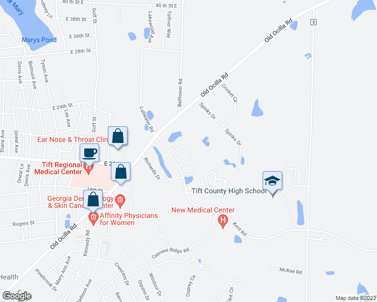 map of restaurants, bars, coffee shops, grocery stores, and more near 88 Richards Drive in Tifton