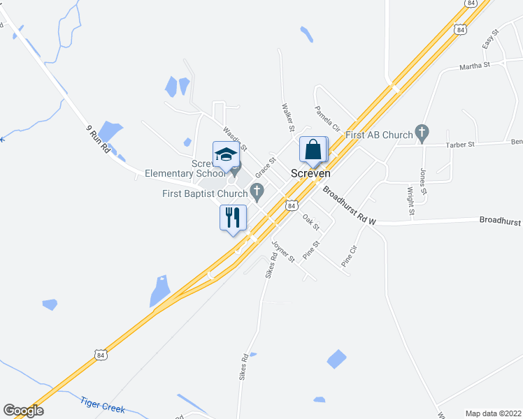 map of restaurants, bars, coffee shops, grocery stores, and more near Church Street in Screven