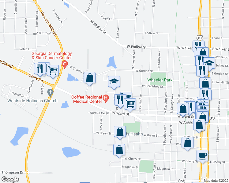 map of restaurants, bars, coffee shops, grocery stores, and more near 339-517 Westside Drive in Douglas