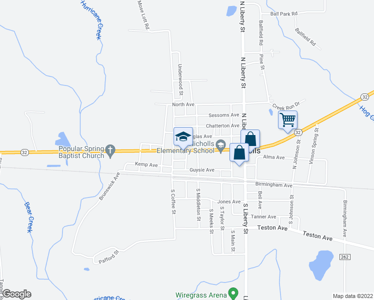 map of restaurants, bars, coffee shops, grocery stores, and more near 601 Van Streat Highway in Nicholls