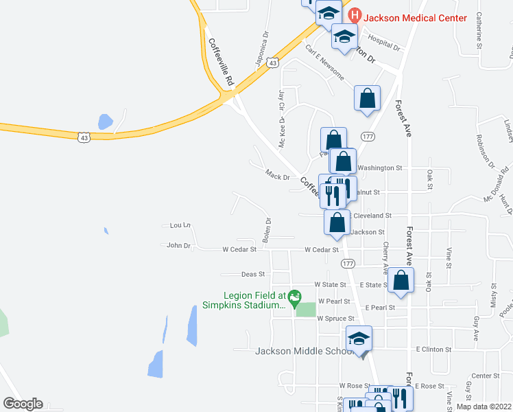 map of restaurants, bars, coffee shops, grocery stores, and more near Bolen Drive in Jackson