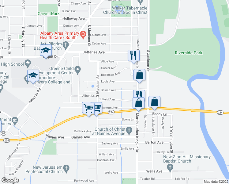map of restaurants, bars, coffee shops, grocery stores, and more near 508 Gowan Avenue in Albany
