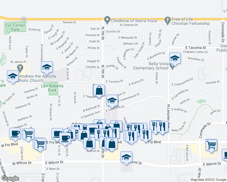 map of restaurants, bars, coffee shops, grocery stores, and more near 555 North 7th Street in Sierra Vista