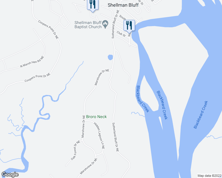 map of restaurants, bars, coffee shops, grocery stores, and more near Sutherland Bluff Drive Northeast in McIntosh County