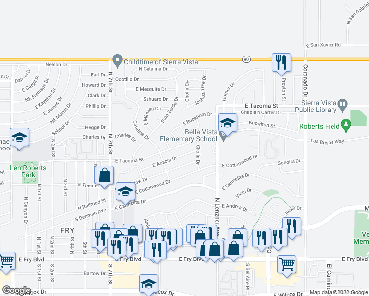 map of restaurants, bars, coffee shops, grocery stores, and more near 800 North Lenzner Avenue in Sierra Vista
