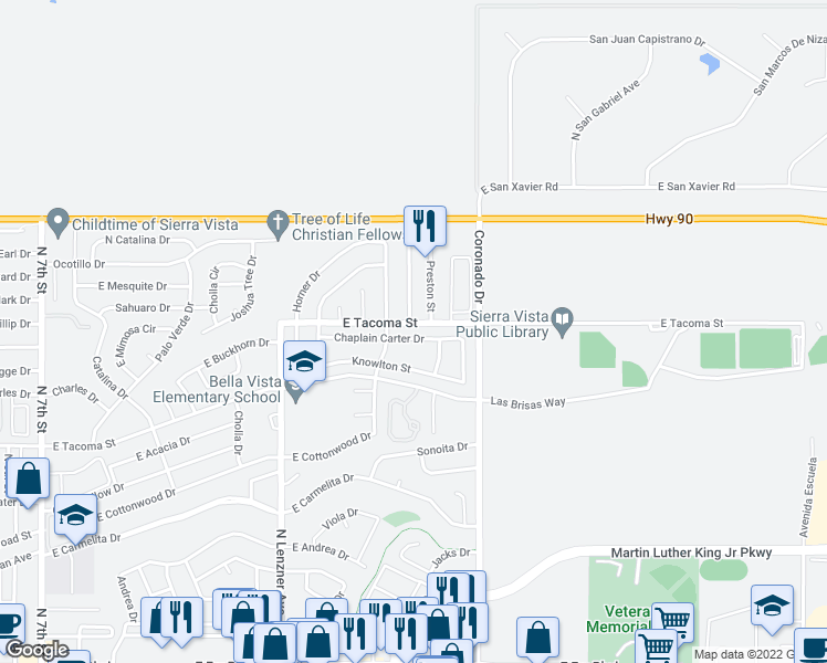 map of restaurants, bars, coffee shops, grocery stores, and more near 2065 Chaplain Carter Drive in Sierra Vista