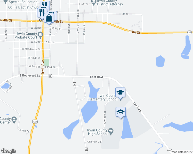 map of restaurants, bars, coffee shops, grocery stores, and more near East Boulevard in Ocilla