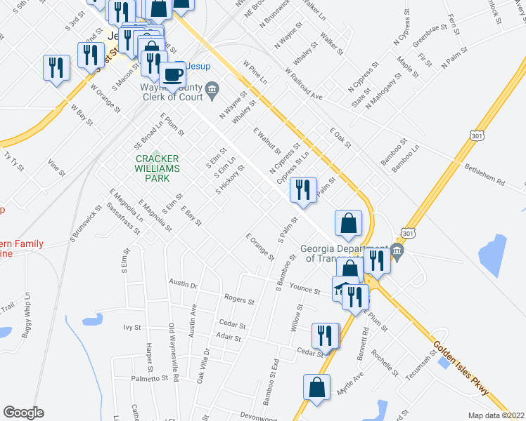 map of restaurants, bars, coffee shops, grocery stores, and more near 661 East Plum Street in Jesup