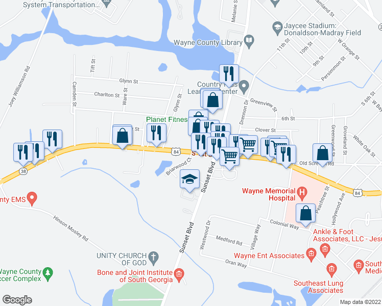 map of restaurants, bars, coffee shops, grocery stores, and more near 1201 South 1st Street in Jesup