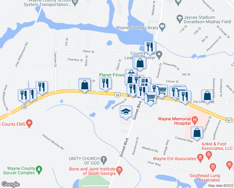 map of restaurants, bars, coffee shops, grocery stores, and more near 1215 South 1st Street in Jesup
