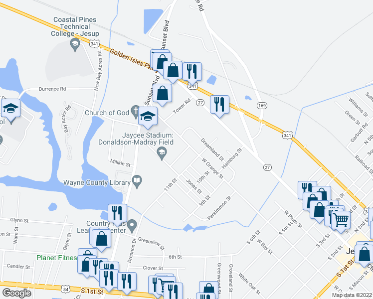 map of restaurants, bars, coffee shops, grocery stores, and more near 1338-1398 West Orange Street in Jesup
