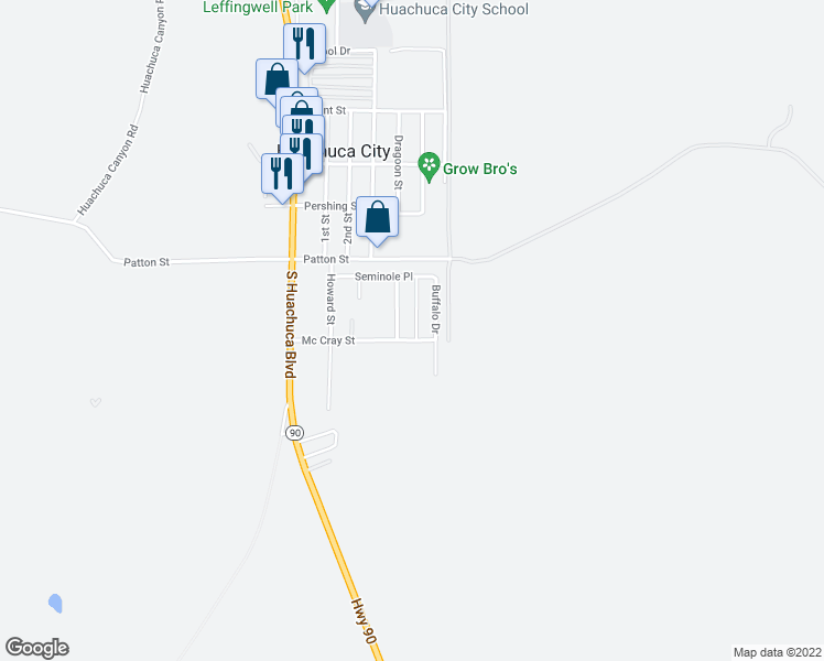 map of restaurants, bars, coffee shops, grocery stores, and more near 119 Tomahawk Drive in Huachuca City