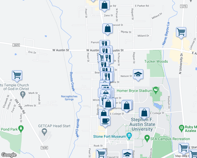 map of restaurants, bars, coffee shops, grocery stores, and more near 2424 Pearl Street in Nacogdoches