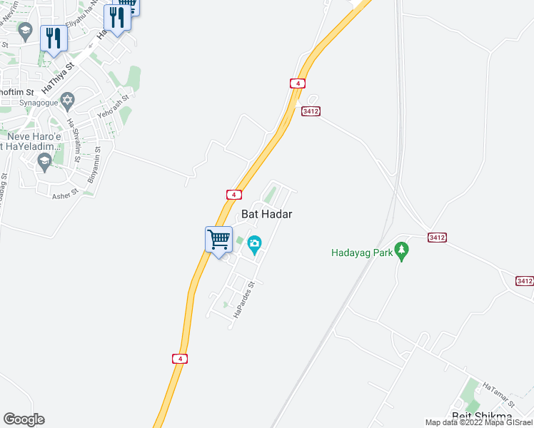 map of restaurants, bars, coffee shops, grocery stores, and more near in Bat Hadar