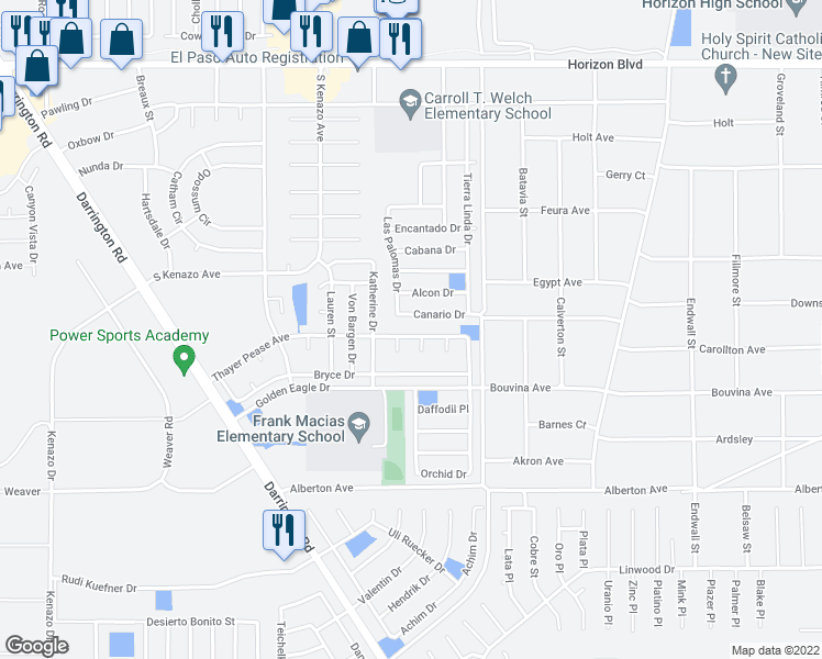 map of restaurants, bars, coffee shops, grocery stores, and more near 14505 Thayer Pease Avenue in Horizon City