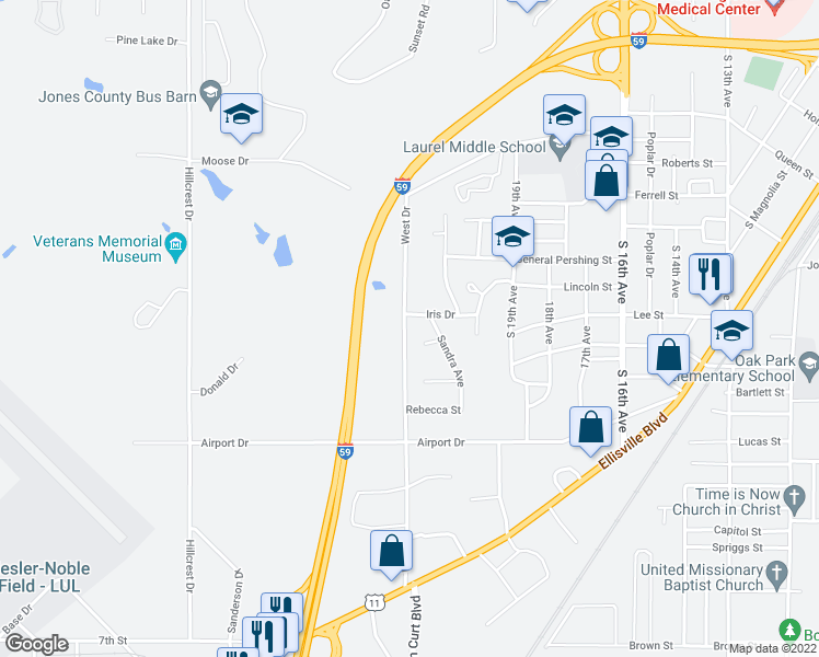 map of restaurants, bars, coffee shops, grocery stores, and more near 1036 West Drive in Laurel