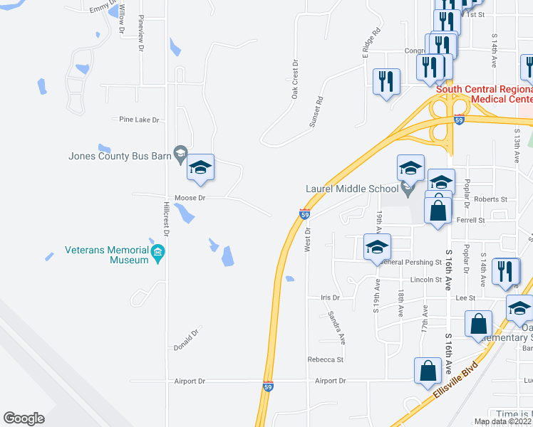 map of restaurants, bars, coffee shops, grocery stores, and more near 2511 Moose Drive in Laurel