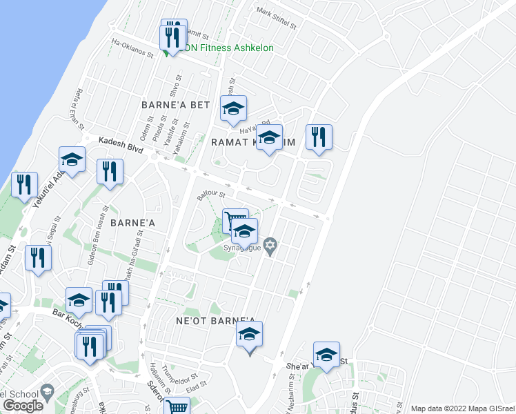 map of restaurants, bars, coffee shops, grocery stores, and more near 41 Balfour Street in Ashkelon