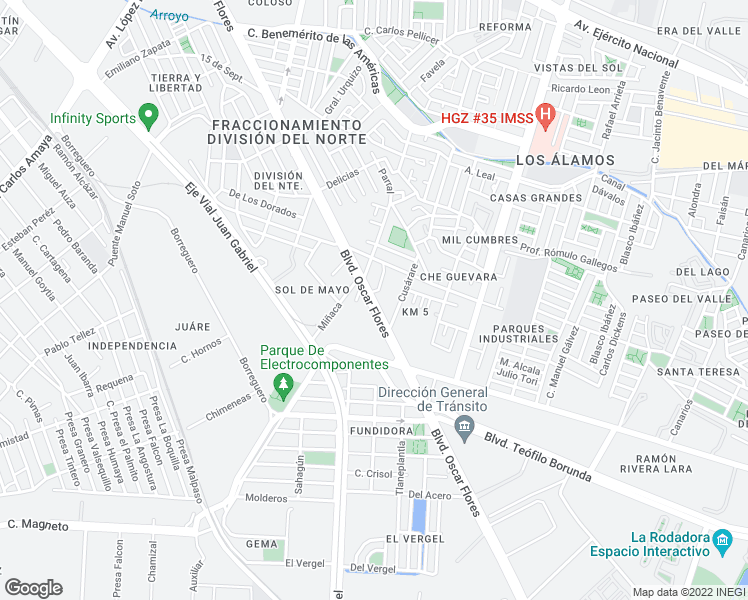 map of restaurants, bars, coffee shops, grocery stores, and more near 3298 Bulevar Oscar Flores San in Juárez
