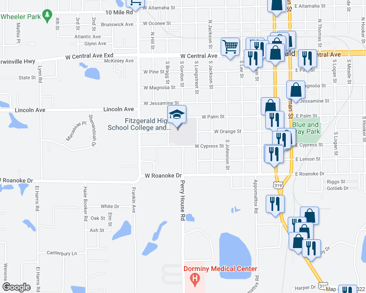 map of restaurants, bars, coffee shops, grocery stores, and more near 415 West Cypress Street in Fitzgerald