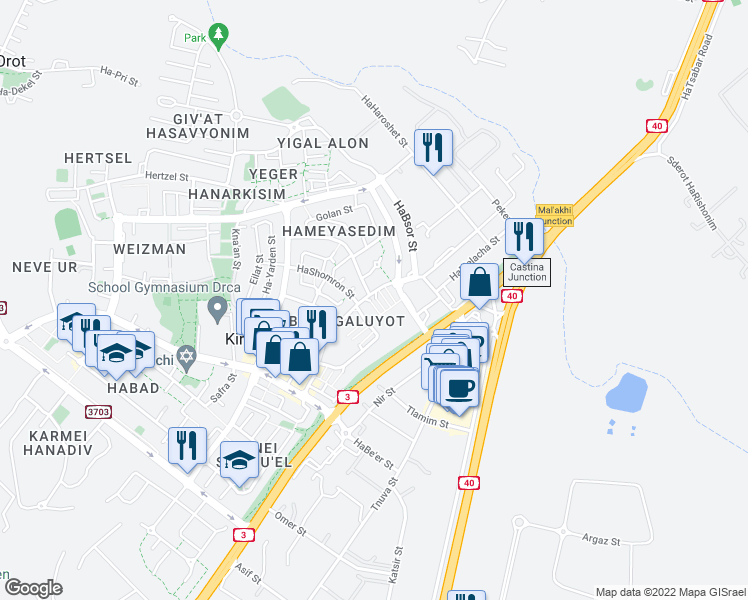 map of restaurants, bars, coffee shops, grocery stores, and more near 24 Sderot Rashi in Kiryat Malakhi