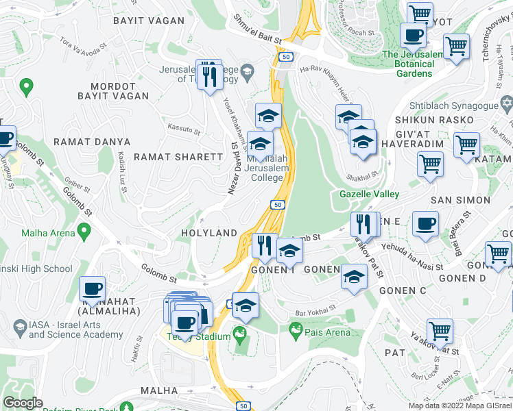 map of restaurants, bars, coffee shops, grocery stores, and more near 59 Gid'on Hausner Street in Jerusalem