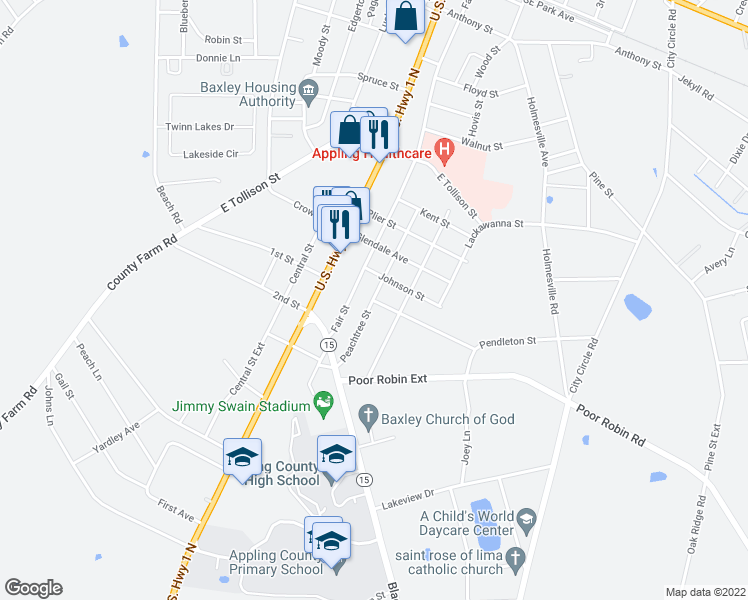 map of restaurants, bars, coffee shops, grocery stores, and more near 1101-1103 Peachtree Street in Baxley