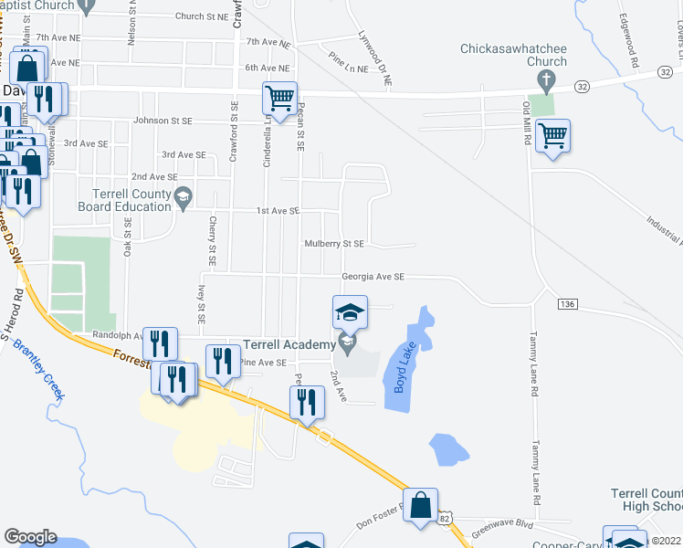 map of restaurants, bars, coffee shops, grocery stores, and more near 520-598 Elladale Drive Southeast in Dawson