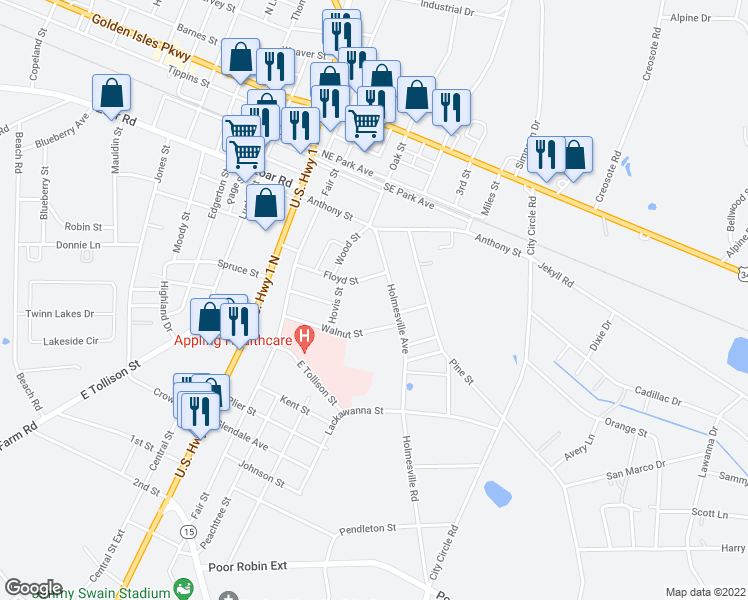 map of restaurants, bars, coffee shops, grocery stores, and more near 307-309 Floyd Street in Baxley
