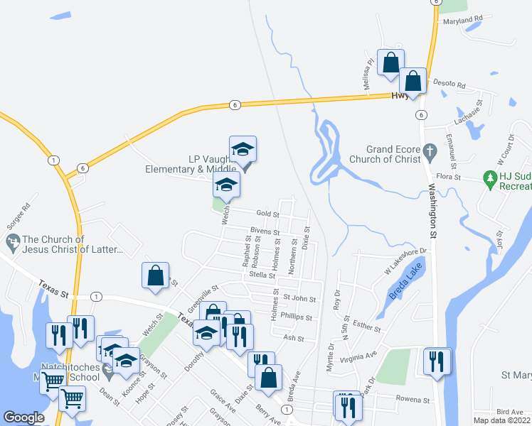 map of restaurants, bars, coffee shops, grocery stores, and more near 1615 Robson Street in Natchitoches