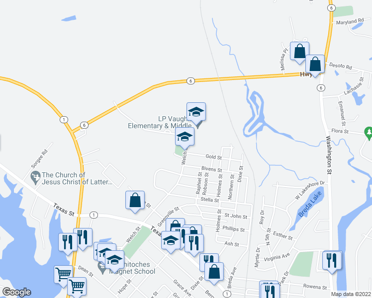 map of restaurants, bars, coffee shops, grocery stores, and more near 1618 Walker Drive in Natchitoches