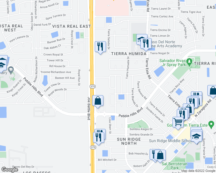 map of restaurants, bars, coffee shops, grocery stores, and more near 2329 Jasmine Ali in El Paso