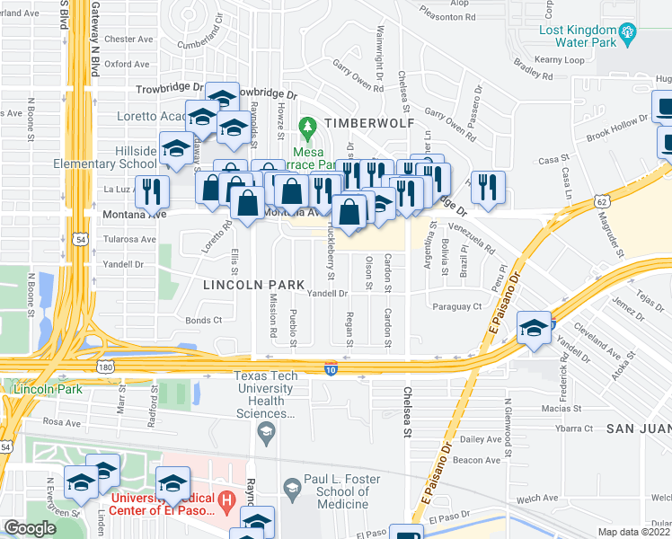 map of restaurants, bars, coffee shops, grocery stores, and more near 820 Huckleberry Street in El Paso