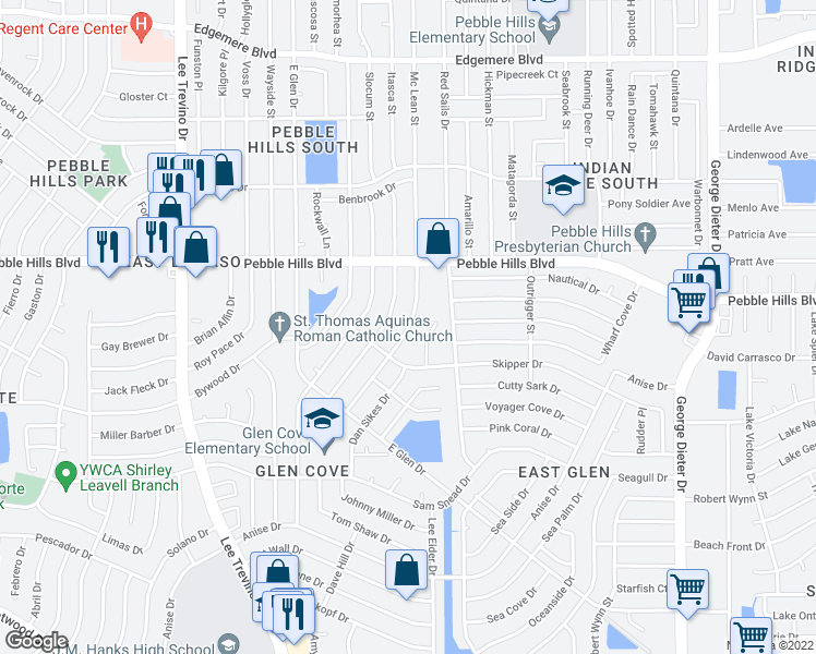 map of restaurants, bars, coffee shops, grocery stores, and more near 2901-2905 Schooner Drive in El Paso