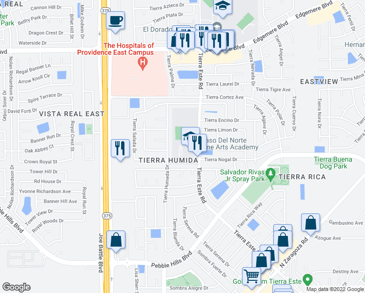map of restaurants, bars, coffee shops, grocery stores, and more near 3024 Tierra Humeda Drive in El Paso