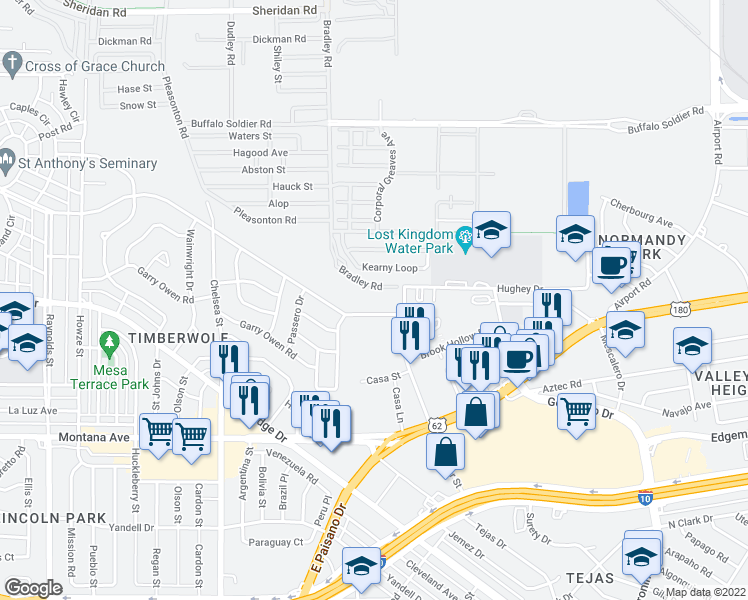 map of restaurants, bars, coffee shops, grocery stores, and more near 5815 Timberwolf Drive in El Paso