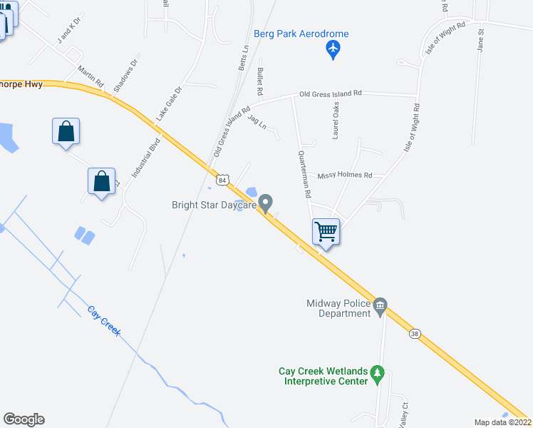 map of restaurants, bars, coffee shops, grocery stores, and more near East Oglethorpe Highway in Midway