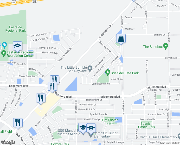 map of restaurants, bars, coffee shops, grocery stores, and more near 3860 Loma Brisa Drive in El Paso