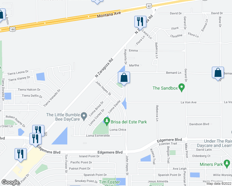 map of restaurants, bars, coffee shops, grocery stores, and more near 3829 Loma Cristobal in El Paso