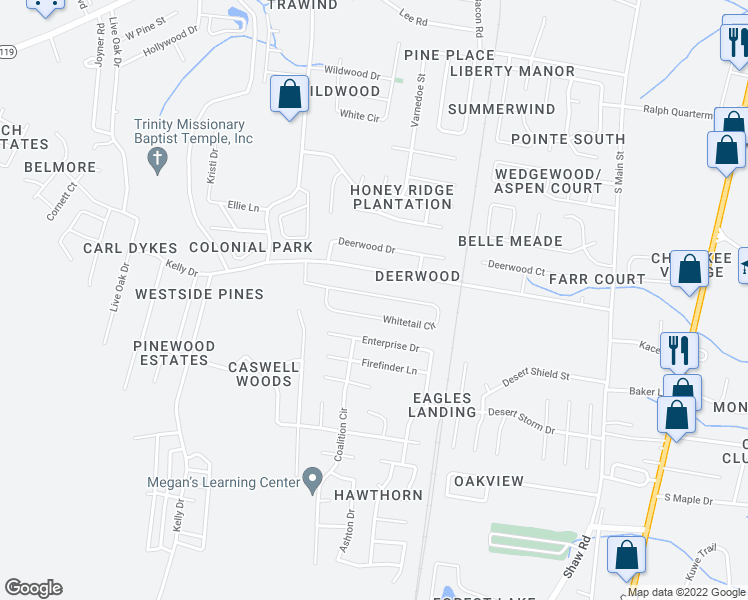map of restaurants, bars, coffee shops, grocery stores, and more near 219 Whitetail Circle in Hinesville