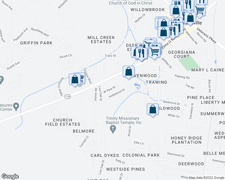 map of restaurants, bars, coffee shops, grocery stores, and more near 907 West Pine Street in Hinesville
