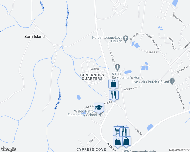map of restaurants, bars, coffee shops, grocery stores, and more near 124 Governors Boulevard in Hinesville