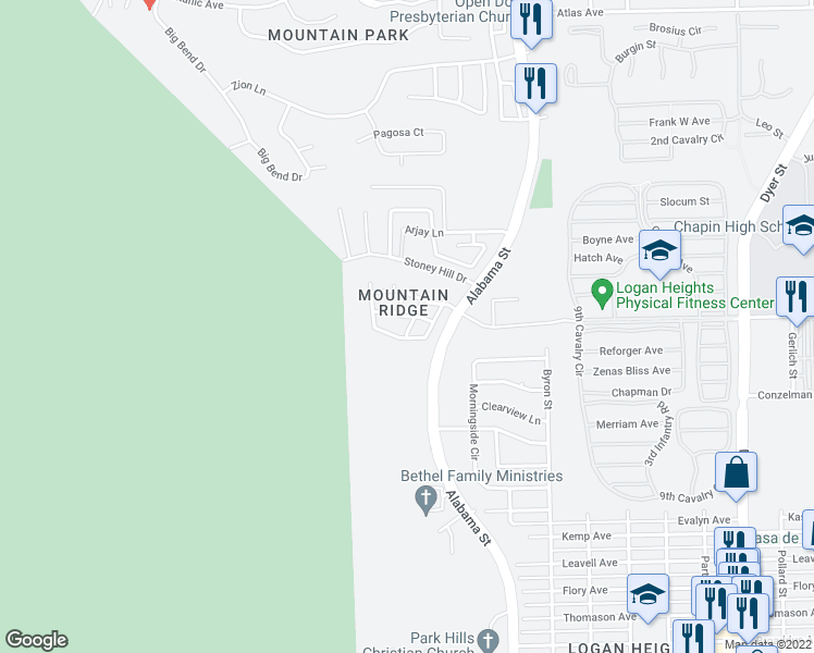 map of restaurants, bars, coffee shops, grocery stores, and more near 6841 Ridgley Way in El Paso