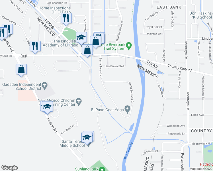 map of restaurants, bars, coffee shops, grocery stores, and more near 5342 Santa Teresita Drive in Santa Teresa