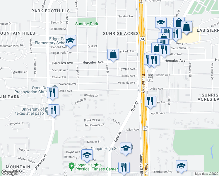 map of restaurants, bars, coffee shops, grocery stores, and more near 4001 Atlas Avenue in El Paso