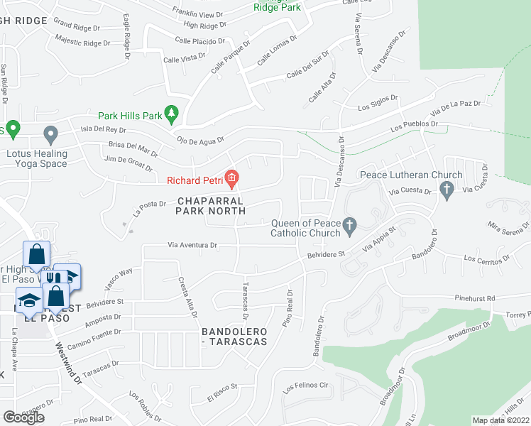 map of restaurants, bars, coffee shops, grocery stores, and more near 6279 Los Bancos Drive in El Paso