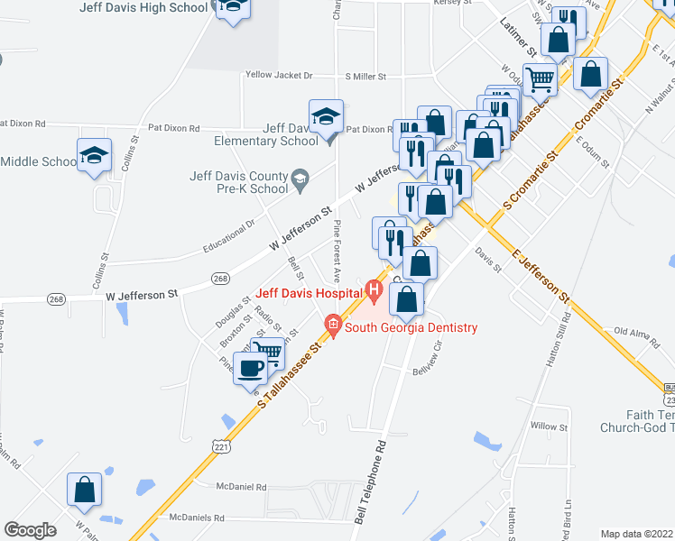 map of restaurants, bars, coffee shops, grocery stores, and more near 29 Pine Forest Avenue in Hazlehurst